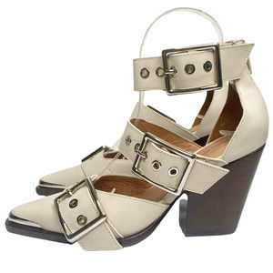 NWT Jeffrey Campbell White Hendrix Buckle Pointed Toe Chunky Heels 6.5